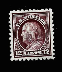 US 1916 Sc# 474  12 c Franklin - Mint H  - Centered - Vivid Color -