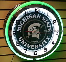 "18"" MICHIGAN STATE University Spartans Sign Double Neon Clock Sparty"
