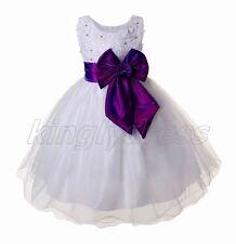 NEW Kid Flower Girl Pageant Wedding Party Princess Dress White Purple SZ 9 Z659E
