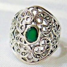925  SILVER SPARKLING  MARCASITE AND GREEN AGATE FILIGREE RING SIZE 9