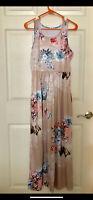 NWOT MAXI DRESS Women's Tan Floral Scoop Neck Sleeveless Summer Dress Size Small