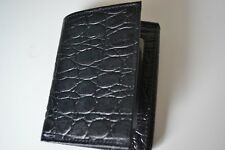 BOSCA Essentials Trifold Croc Embossed Leather Wallet Brand New Black
