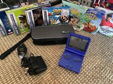 Nintendo Gameboy Advance SP (Cobalt Blue GBA) w/ 7 Games, Charger & Carry Case