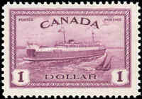 1946 Mint Canada F+ Scott #273 $1.00 Train Ferry Issue Stamp Never Hinged