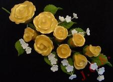 Gold sugar rose spray wedding birthday cake topper decoration large - reduced