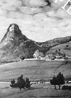 Mühlhausen im Hegau - Kirche und Burg -Gemälde um 1840 - Poppele          Z 7-14