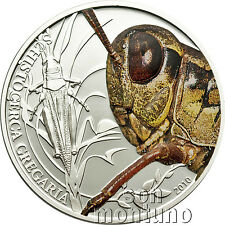2010 Palau GRASSHOPPER - World of Insects Series - Sterling Silver Coin Box+COA