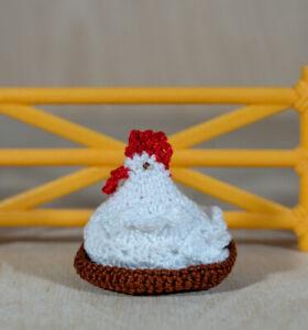 Mini crochet hen and nest