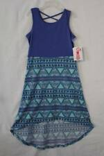 NEW Girls Hi-Low Dress Size Medium 7 - 8 Sleeveless Blue Stretch Soft Spring