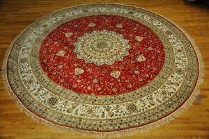 Red Rug 11' x 11' Round Silk New Traditional Centerpice Handmade Rug