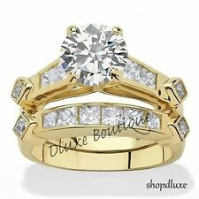 WOMEN'S 14K GOLD PLATED AAA CZ WEDDING & ENGAGEMENT RING SET SIZE 5,6,7,8,9,10