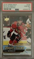 2016 2017 UPPER DECK Nick Schmaltz PSA 10 YOUNG GUNS EXCLUSIVES RC ROOKIE #/100
