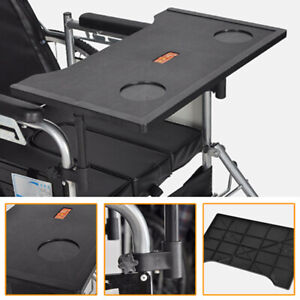 Lightweight Removable Wheelchair Tray Table Attachment with Cup Holder Black Kit