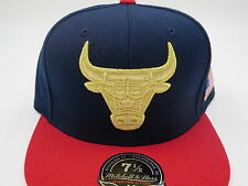 Chicago Bulls Throwback USA NBA Mitchell & Ness Hi Crown Fitted Hat Cap 7-1/4