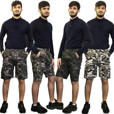 Mens Boys Elasticated Combat Cargo Shorts Camo Camouflage Army Summer Half Pants