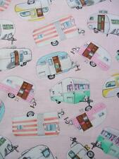 Pink Campers Retro Trailer Camping Glamping Timeless Treasures Fabric Yard