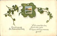 Greetings on St Patricks Day card postcard colour printed lucky clover antique