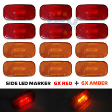 12x LED 12V RV Trailer Side Marker Truck Lorry AUTO Clearance Lights Red & Amber