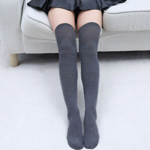 Womens Fashion Sexy Over Knee High Socks Solid Color Slim Warm Cotton Stockings