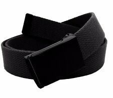 Men's Military Black Flip Top Buckle with Canvas Web Belt Hypoallergenic