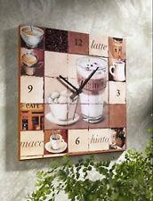"WANDUHR ""COFFEE""  Deko-Uhr ca. 30 x 30 cm Quadrat Druck auf MDF Fotouhr - NEU"