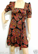 REVIEW size 8 100% cotton outer & lining bold patterned DRESS & TIE near new