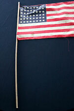 ANTIQUE EARLY 2OTH CENTURY 48 STAR FLAG AND POLE 17 INCHES BY 11 INCHES