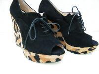PRADA SHOES SANDALS HEELS platform peep toe boots BLACK LEOPARD PRINT 36.5 6.5
