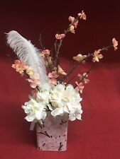 Decorative Floral Display White Pink Flowers Feather in Pink Floral Tin Box Lid