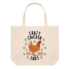 Crazy Chicken Lady Stars Large Beach Tote Bag - Funny Animal Pet Shoulder