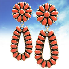 Coral Squash Blossom Flower Earrings Silver Tone Tribal Post