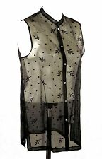 NWOT Sigrid Olsen Black Sheer Silk Sleeveless Top w/ Embroidered Leaves & Dots M
