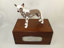 Beautiful Paulownia Small Wooden Personalized Urn With Chinese Crested Figurine