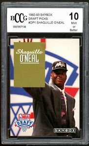 1992-93 Skybox Draft Picks #dp1 Shaquille O'neal Rookie Card BGS BCCG 10 Mint+