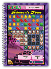 A5 NOTEBOOKS PERSONALISED/50 LINED PAGES/GIFT FOR CANDY CRUSH FANS/ NOTE BOOK 2