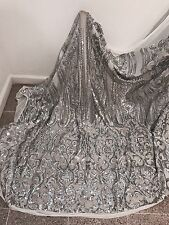 """WHITE STRETCH MESH W/SILVER  SEQUINS  EMBROIDERY FABRIC 50"""" WIDE 1 YARD"""