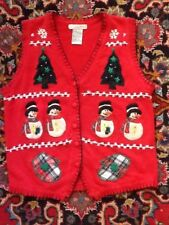 Victoria Jones Trees Snowman Mittens Christmas Sweater Vest XL Not Ugly EUC
