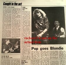 BLONDIE Debbie Harry Robert Fripp 1980 concert review UK ARTICLE / clipping