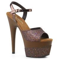 Pleaser ADORE-709-2G Womens Coffee Multi Glitter High Heel Platform Strap Sandal