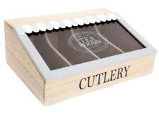 Wooden Grey Cutlery Canopy Storage Holder Case Kitchen Organiser Box Vintage