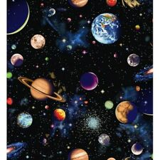 Nutex SOLAR SYSTEM cotton fabric space planets galaxy stars earth black craft