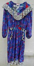 Susan Freis Vintage Dress -  Red, Blue, Green with Black and White Ruffles
