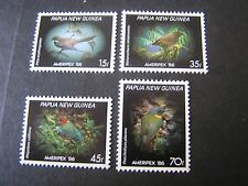 PAPUA NEW GUINEA, SCOTT # 645-648(4),1986 AMERIPEX SMALL BIRDS ISSUE MNH