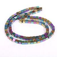 16''(100pcs env.) Perles Hématite Gemme Carré Cube Métalliques Pour Bijoux 4x4mm
