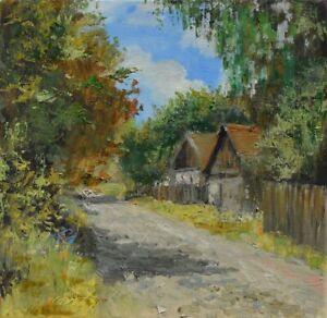"Wieś"" Original Oil Painting 30x30cm signed Garncarek Al,,"