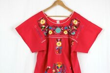 Hand Embroidered Red Dress Made Mexico Boho Size Small STUNNING Quality