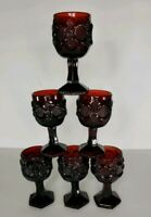Set of Six (6) Vintage AVON Cape Cod Collection 1876  RUBY RED CORDIAL GOBLETS