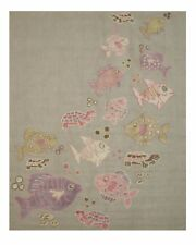 Gray Transitional Kid's Fish & Turtle Rug
