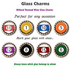 Eight Wine Glass Charms Billiard Themed Charms Various Billiard Balls Numbers
