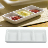 White 3-Compartment Appetizer Serving Tray Divided Sauce Dishes for Spice Plate